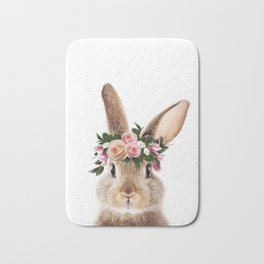 Baby Rabbit, Brown Bunny With Flower Crown, Baby Animals Art Print By Synplus Bath Mat