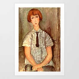 "Amedeo Modigliani ""Young Girl in a Striped Blouse"" Art Print"