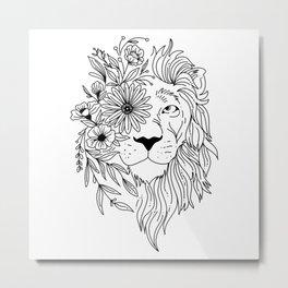 Lion head sketch with flowers in his mane Metal Print