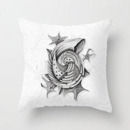 Dystopian Conch - Black & White Throw Pillow