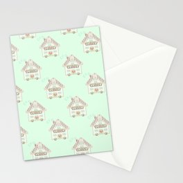 Little cute house cross stitch pattern - green Stationery Cards
