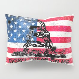 Viper N Bullet Holes On Old Glory - Gadsden and American Flag Pillow Sham