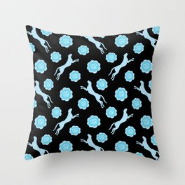Gorgeous wild jumping cheetahs and lovely blooming roses. Stylish classy elegant artistic bright blue pastel retro vintage botanical animal nature black pattern. Throw Pillow