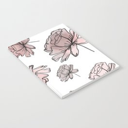 Hand Drawn Peonies Dusty Rose Notebook