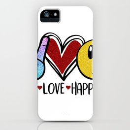 Peace Love Happiness Peace Heart Smiley Face iPhone Case