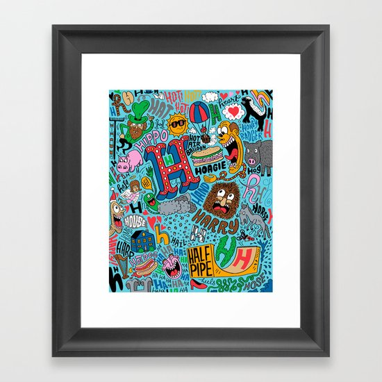 H Pattern Framed Art Print