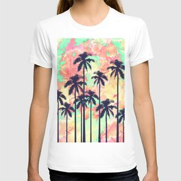 Colorful Neon Watercolor with Black Palm Trees T-shirt