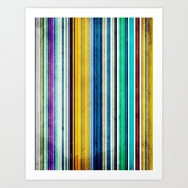 Colorful Stripes With Texture Art Print