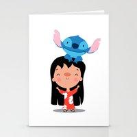 lilo and stitch Stationery Cards featuring Lilo & Stitch by mruburu