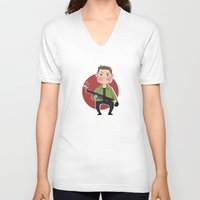 dean winchester V-neck T-shirts featuring Dean Winchester by RiruD