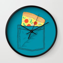 Emergency supply - pocket pizza Wall Clock