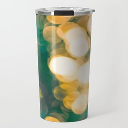 Green Turquoise Bokeh Blurred Lights Shimmer Shiny Dots Spots Circles Out Of Focus Travel Mug