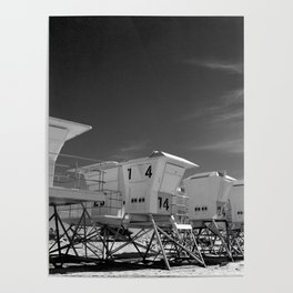 BEACH - California Beach Towers - Monochrome Poster