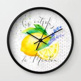 Les Citrons de Menton—Lemons and Lavender, Provence Wall Clock
