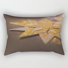 Gold and Silver Sparkly Star Design Rectangular Pillow