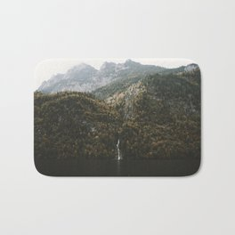 Autumn Waterfall at the Mountain Lake - Landscape Photography Bath Mat