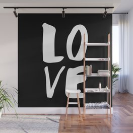 LOVE Wall Art Home Decor in Black-and-White Ink Modern Typography Poster Graphic-Design Minimalism Wall Mural