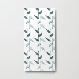 Pine and Mint Bambu Leaves Metal Print