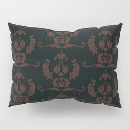 Damask Print Dark Pillow Sham