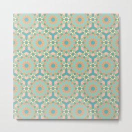 Elegant pastel islamic geometric pattern, teal & orange Metal Print
