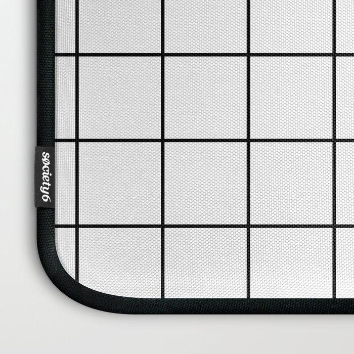 Grid Simple Line White Minimalist Laptop Sleeve