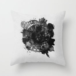 Rome, Italy Black and White Skyround / Skyline Watercolor Painting Throw Pillow