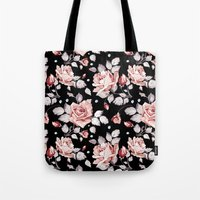 shabby chic Tote Bags featuring Shabby Chic Rose by Madisyn Nicole