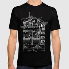 TOKYO BY NIGHT Mens Fitted Tee SMALL Black
