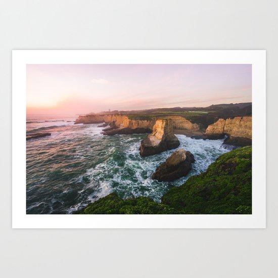 Golden California Coastline - Santa Cruz, California Art Print