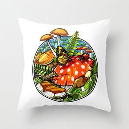 Magic Mushrooms Fungi Psilocybin Shrooms Throw Pillow