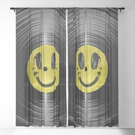 Vinyl headphone smiley Sheer Curtain