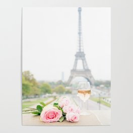 Wine and Roses at the Eiffel Tower Poster
