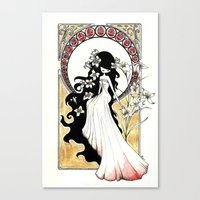 art nouveau Canvas Prints featuring Art Nouveau by Alexandra Banti