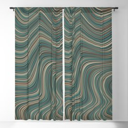 MANITOULIN forest colours of aquamarine green and brown in abstract waves design Blackout Curtain