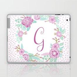 Monogram G - cute girls purple florals flower wreath, lilac florals, baby girl, baby blanket Laptop & iPad Skin
