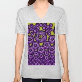 Floral fraktal, purple Unisex V-Neck