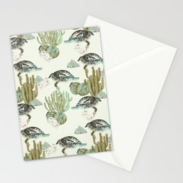 Crocodile pattern on the cactus Stationery Cards