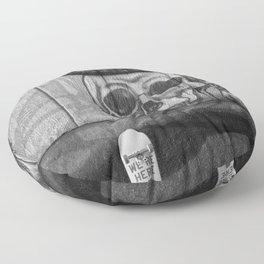 Skulls and Skating (Black and White) Floor Pillow