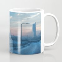 manchester Mugs featuring Manchester Winter, UK by Mel Hampson