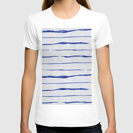 Blue Wiggly Stripes Pattern T-shirt