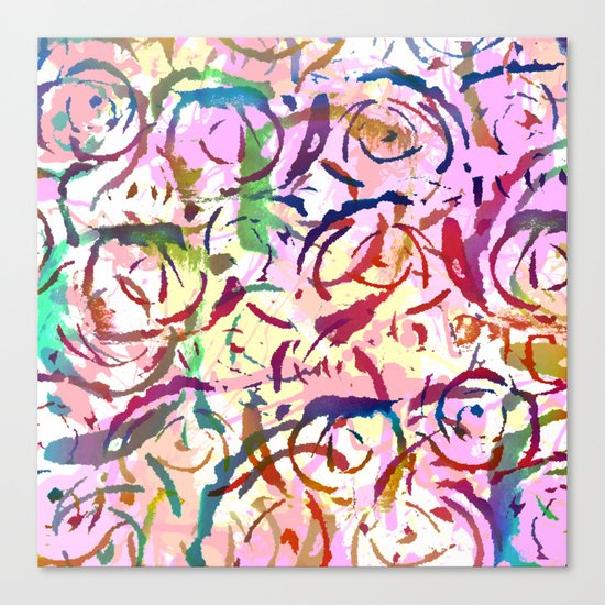 abstract roses silhouettes Canvas Print