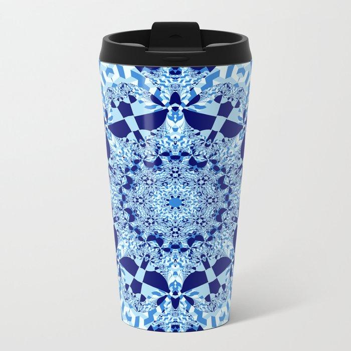 Blue toned cubism in a kaleidoscope Metal Travel Mug