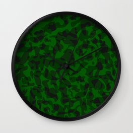 Spotted green blots on a dark military. Wall Clock