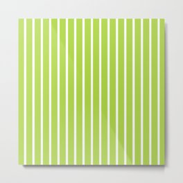 Green and White Vertical Stripes Pattern Metal Print