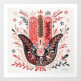Hamsa Hand – Red & Black Palette Art Print