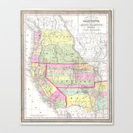 Vintage Map of The Western United States (1853) Canvas Print