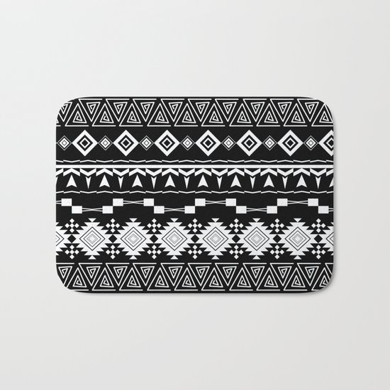 Aztec black and white pattern. Bath Mat
