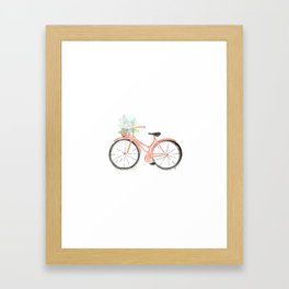 Coral Spring bicycle with flowers Framed Art Print