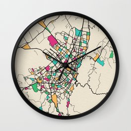 Colorful City Maps: Bogota, Colombia Wall Clock