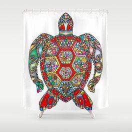 Colorful Sea Turtle Abstract Mandala Shower Curtain